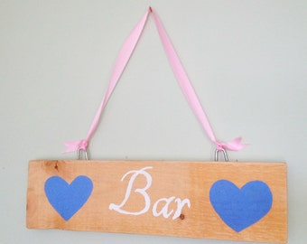 Rustic Vintage Style Hand Painted Wooden Bar Sign for Weddings and Parties