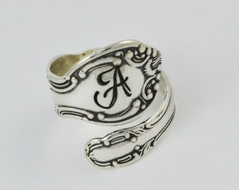 Custom Initial Sterling Silver Spoon Ring