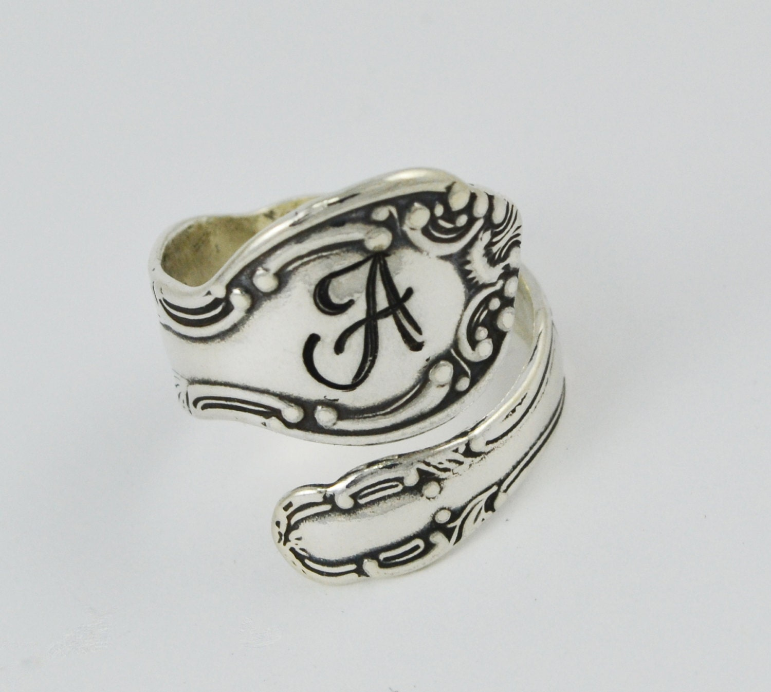 custom initial sterling silver spoon ring by silverstatements