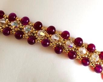 Gemstone Bracelet - Crystal Bracelet in Red Violet Rounds, Crystal AB Crystals, Gold Seed Beads - Seed Bead Bracelet - Seed Bead Jewelry