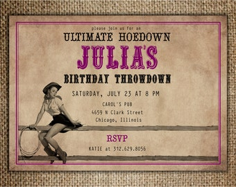 Hoedown Party Invitation : Birthday/Hen's Night/Ladies' Night Out with Pin Up Cowgirl