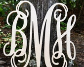 Wooden Monogram Wall Decor - Vine Monogram Wooden Letters - Nursery Decor Wall Hanging Letters in 24 x 24 size
