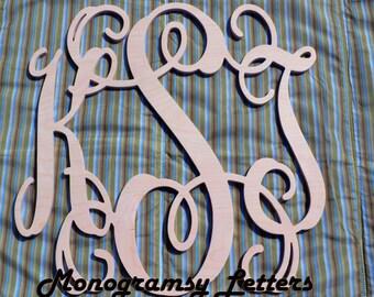 "22"" Monogram Wall Decor, Nursery Sign, Wedding gift, Wooden Monogram Sign"