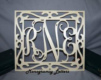 "28""x24"" Vine Connected Wooden Monogram Letters - Wedding, Nursery, Home Decor - with FRAME"