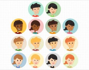 Digital Clipart, Social Media Profile Picture, Avatar, Vector Cartoon Faces - Instant Digitial Download