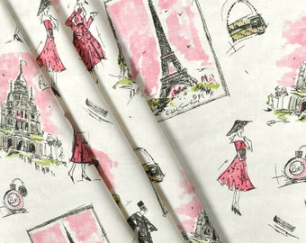 Pink Paris Chic Fabric, French Fashionista, Couture Tres Paris, Eiffel Tower, Drapery/Upholstery Fabric. Yard 36'' Length, 54''Width