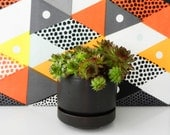 Retro black planter with saucer Arabia Finland Mid Century Scandinavian pottery 70s