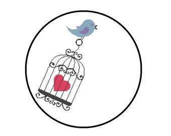 Birdcage Cross Stitch Pattern, Bird Heart Birdcage Cross Stitch Pattern PDF, Instant Download