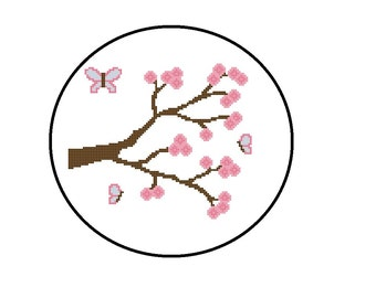 Baby Cross Stitch Pattern PDF, Butterfly and Tree Flowers, Nursery Decor