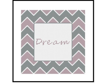 Chevron Cross Stitch Pattern PDF - Dream - Purple and Grey - Home Decor