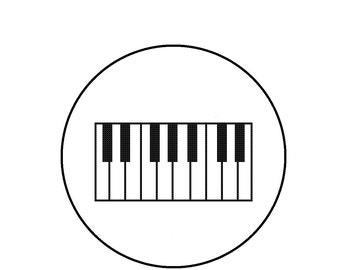 Cross Stitch Pattern, Piano Keys, Music Black and White Cross-Stitch Pattern PDF