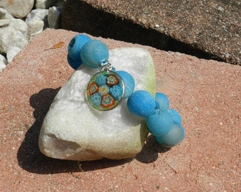 Blue Druzy Bracelet with Millefiore Pendant and Blue Crystal Spacers