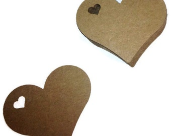 "Small  Heart Tags 100 - 2"" x 1 3/4"" - You Choose the Color"