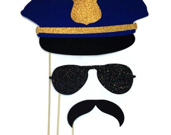 Photo Booth Props- Police Themed- Photo Booth Props with Glitter