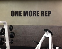 Motivational Gym Wall Decal, ONE MORE REP 08