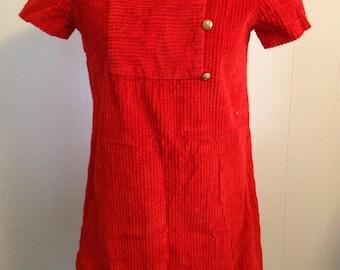 1960s Red Corduroy Mini Dress