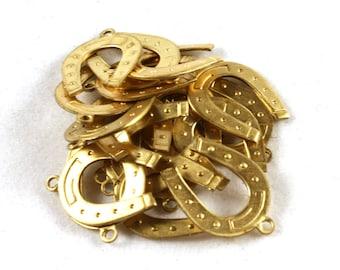 4x Brass Horseshoe Charms - M055