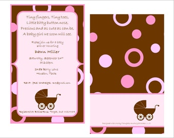 Digital Template ... Chocolate Brown and Pink Baby Shower Invitation ... Instant Download