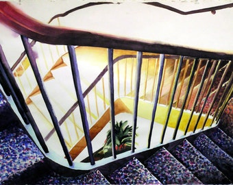 Original Watercolor Painting, Semi-Abstract Art, Mystery, Stairs, Staircases