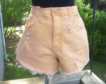 High Waisted Orange Denim Shorts - Distressed Studded Dip Dyed Shorts - Waist 33 - Gloria Vanderbilt