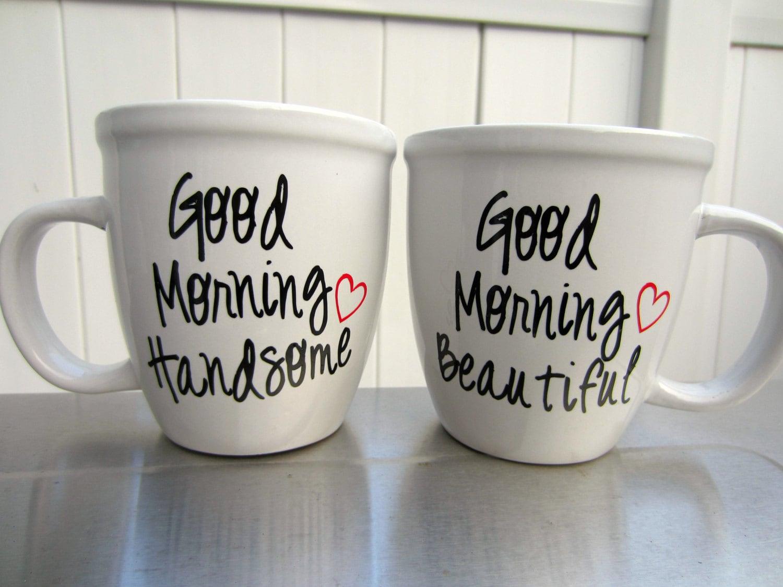 his and hers coffee mug set mr and mrs set good morning. Black Bedroom Furniture Sets. Home Design Ideas