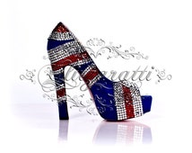 Beautiful bespoke crystal embellished shoes all hand finished to your specifications (union jack)