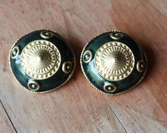 1980s Gold and Green Enamel Clip Earrings