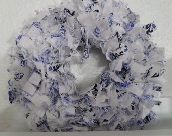 "6"" Blue Shabby Chic Mini Rag Wreath Wall Decor"