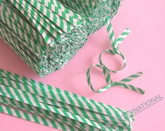 200 pcs 7 in Paper Twist Ties for cello bags - Green Stripe