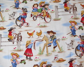 "1/2 yard of 100% cotton ""Cowboy and cowgirl"" fabric"