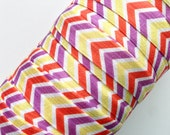 "5/8"" Tropical Chevron, Printed, Fold Over Elastic, Print, Pattern"