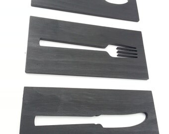 Kitchen Art Wood Plaques Fork Spoon Knife Black Contemporary