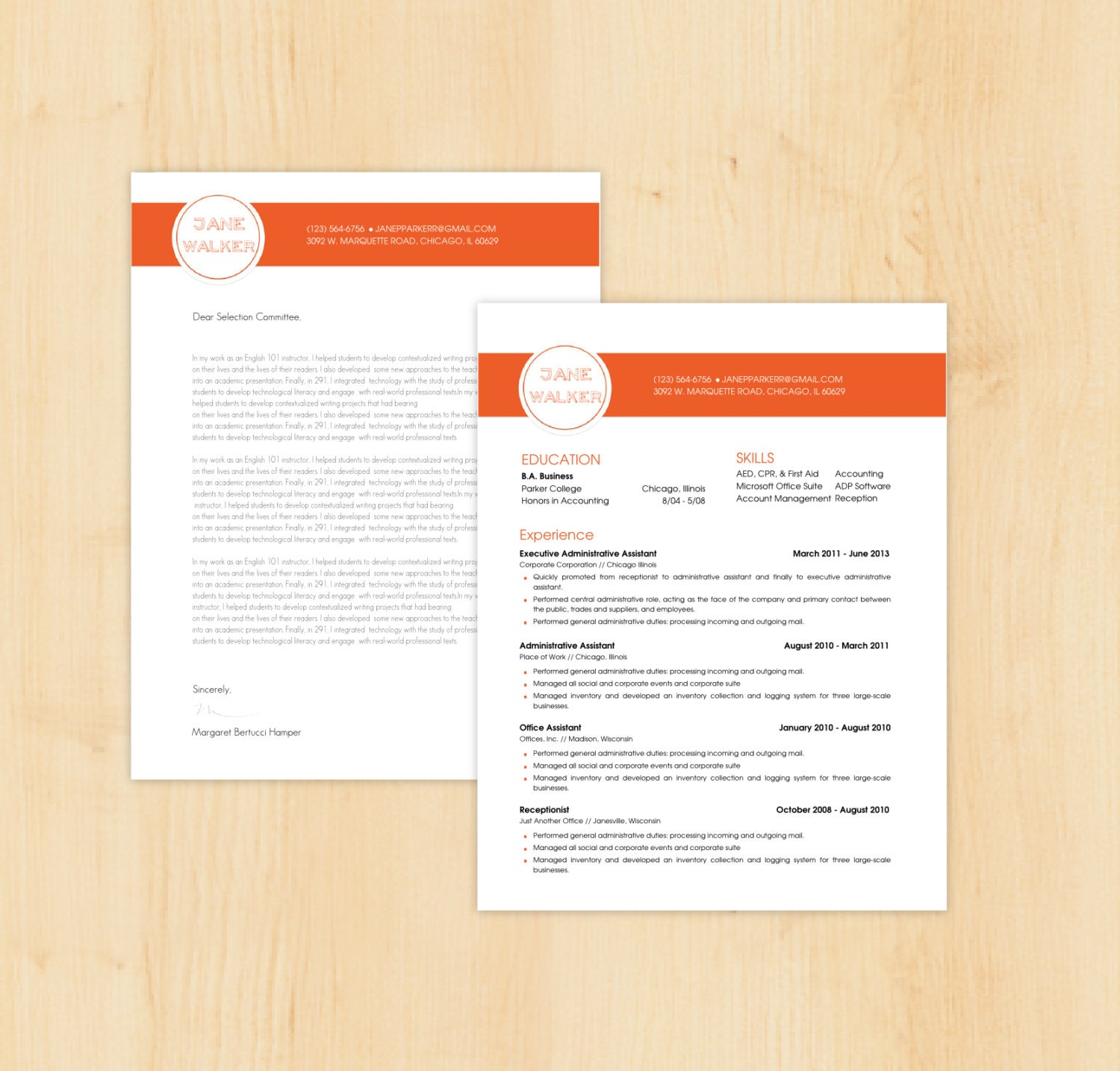 Resume Template / Cover Letter Template The Jane By PhDPress