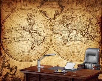World map wall mural, Vintage old map of the world 1733, Repositionable peel & stick fabric wall paper.
