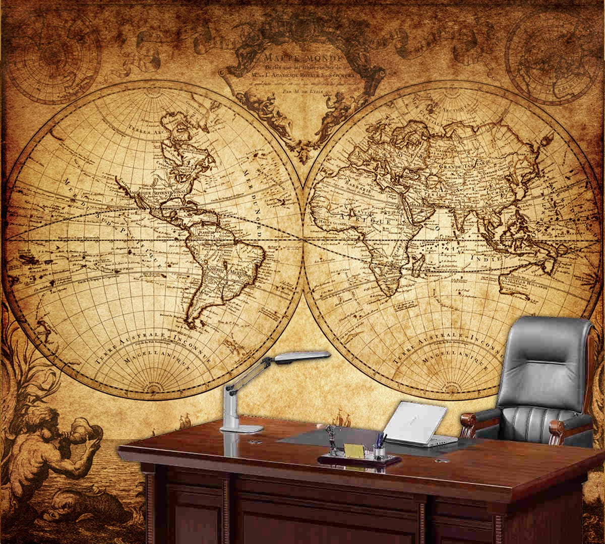 World map wall mural vintage old map of the world 1733 for Antique map mural