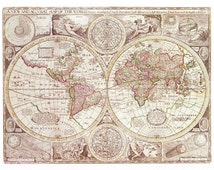 Fabric Yardage - Antique World Map Fabric - Crafting sewing supplies