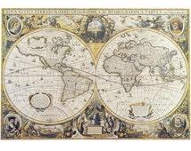 Fabric Yardage - Antique World Map Fabric on Cotton - Sewing Crafting - maps on fabric
