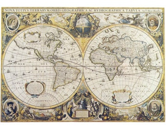 Fabric Yardage - Antique World Map Fabric on Cotton - Sewing Crafting - maps on fabric