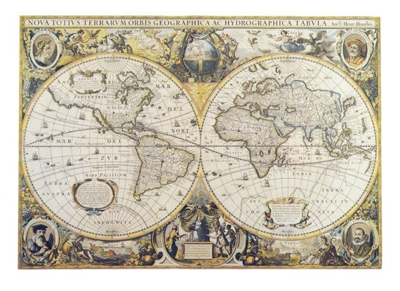 Fabric yardage antique world map fabric on cotton sewing like this item gumiabroncs Gallery