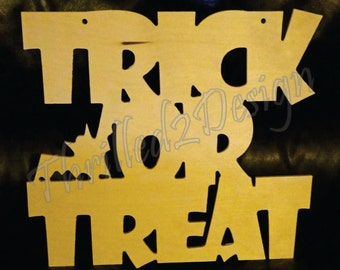 Halloween - Trick or Treat Stacked Wooden Letters - Decoration
