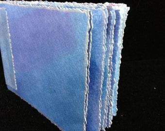 Denim Blue, Hand Bound, Hand Inked Watercolor Paper Travel Journal