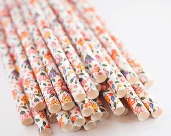 Vintage Flower Paper Straws - Retro Party Straws - Straw Flags