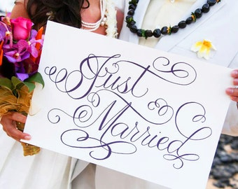 Wedding Just Married Sign, Hand Written Calligraphy