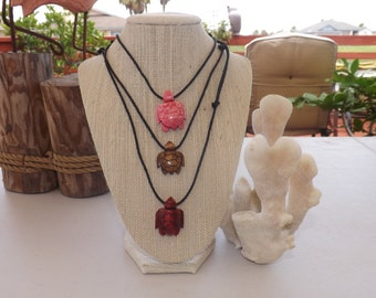 Carved Turtle Pendant on Adjustable Rope Necklace