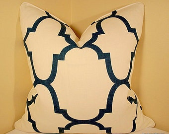 BOTH SIDES - ONE Windsor Smith Riad Indigo Pillow Cover with Self Cording