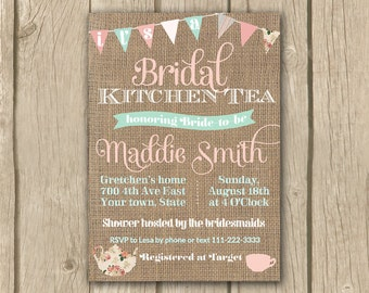 Bridal Kitchen Tea Invite Afternoon Tea Invite High Tea Free