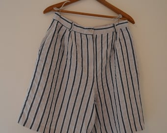 Tan and Black Striped Linen Shorts