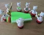 RESERVED FOR VEGAN22 The Crazy Cats Band Vintage Musician Cat Figurines In Box Rare