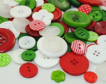 Mixed Button Bag - CHRISTMAS - 50g (2oz) Bag of Pretty Holiday Buttons