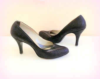 60s Black High Heels - Black Leather and Suede - TWEEDIES - Beautiful Vintage in FAB Condition